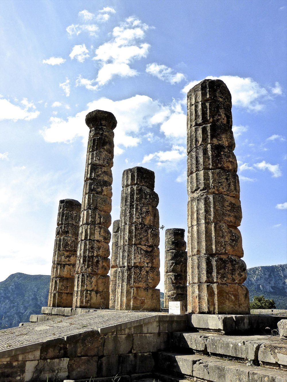 The temple of Apollo at the archaeological park of Delphi where the priest Pythia was standing, in a state of ecstasy giving oracles.