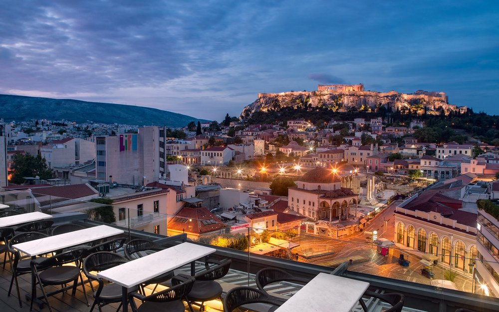 Jaw-dropping views to Acropolis combined with the best cocktails in  A for Athens  restaurant and bar. Source: A for Athens
