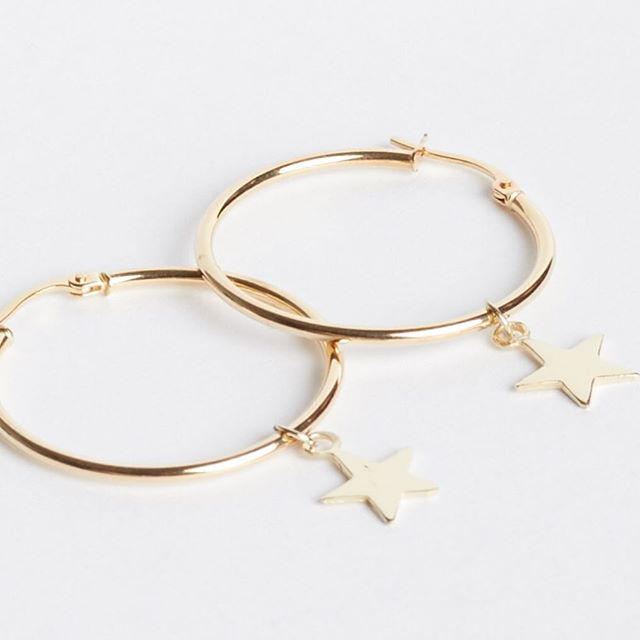 """Keep your eyes on the ⭐️'s and feet on the ground""  Shop our star hoop earrings online.  Link in bio  #towerjewellers #hoopearrings #starearrings #hoops #goldhoops #goldearrings #jewellery #star #styleoftheday #shoponline #love #gold #livelovelaugh"