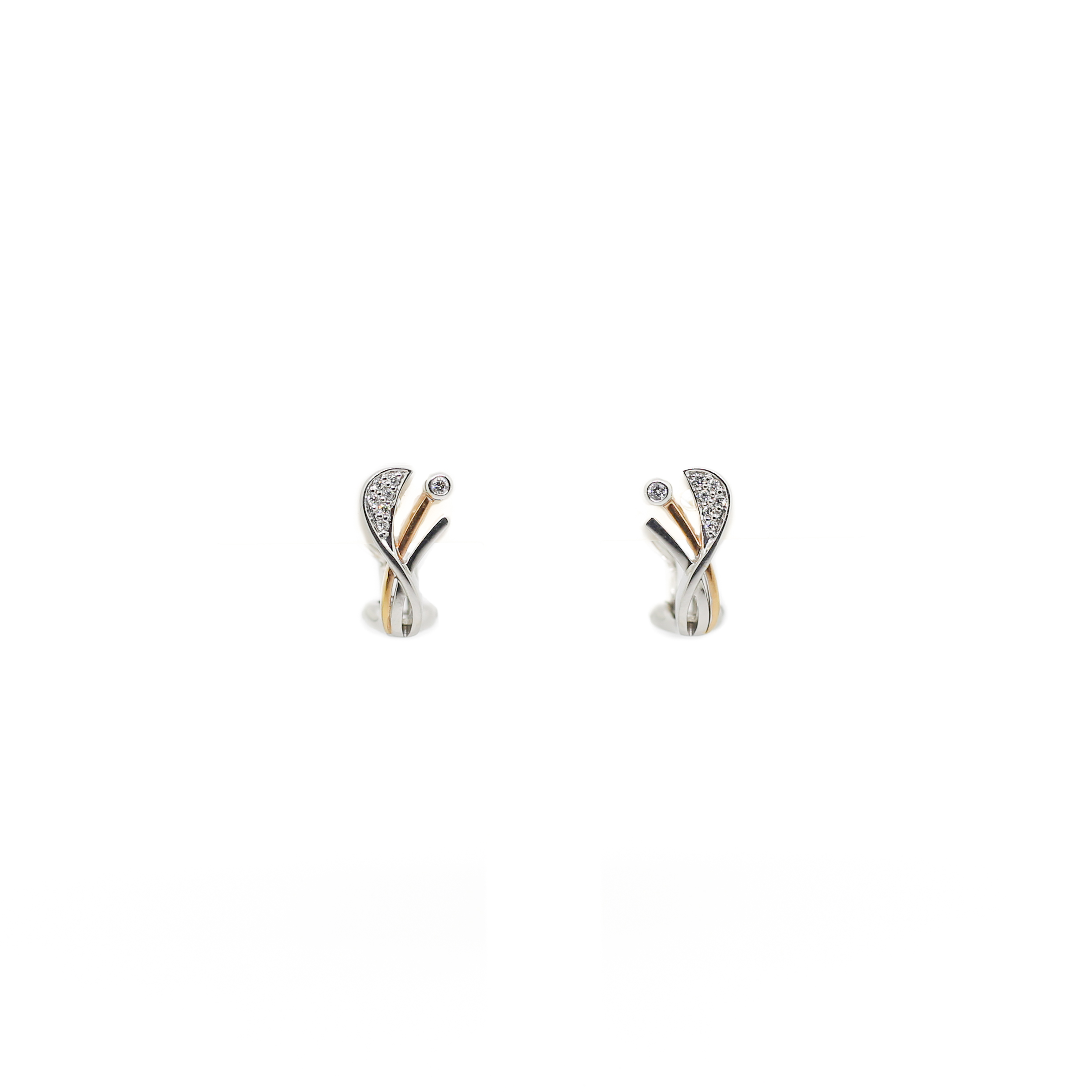 db32c7e31 18ct White Gold and Rose Gold Diamond Earrings — Tower Jewellers