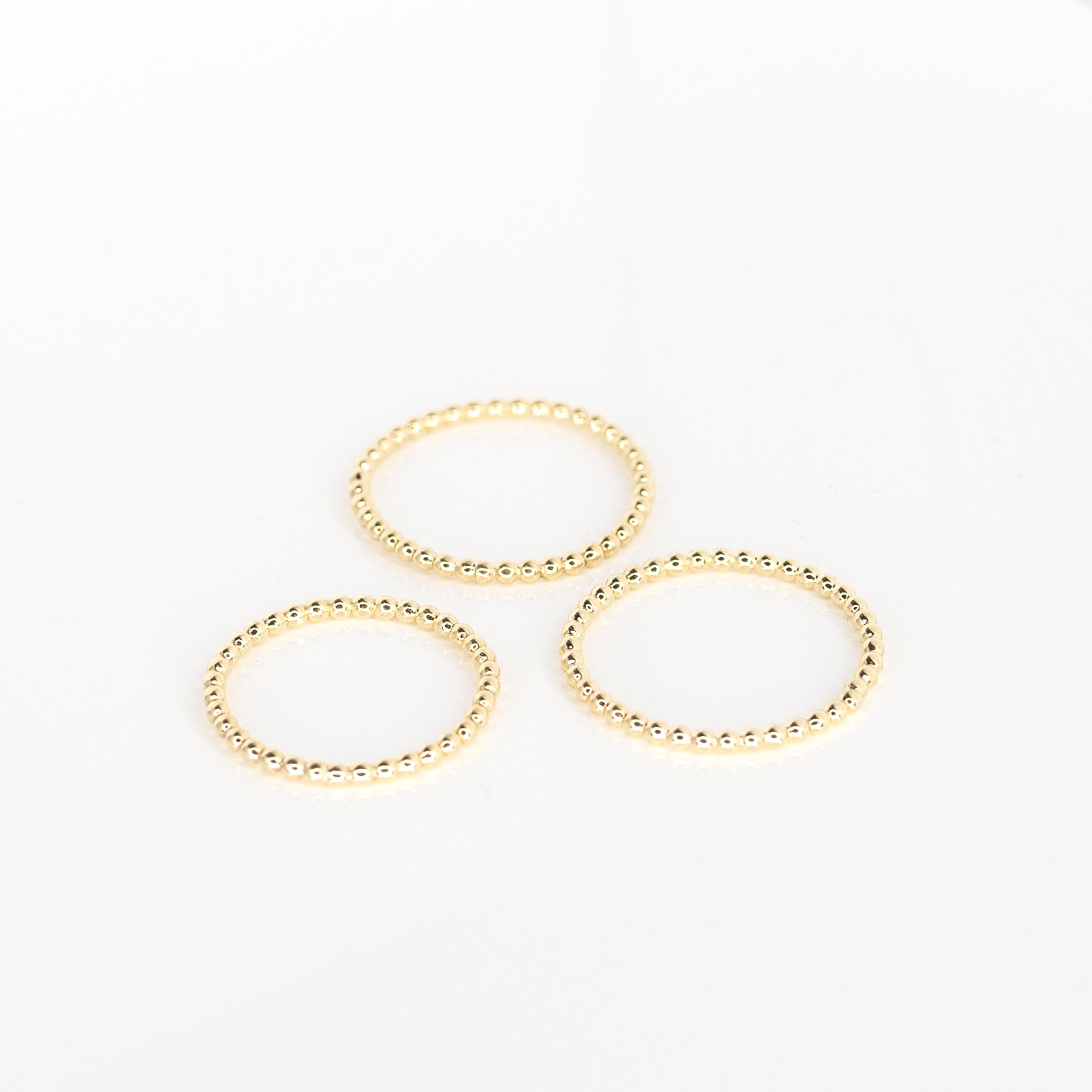 9ct Gold Bead Bands X3