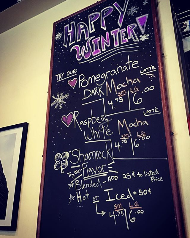 Winter has come!! Check out some of our new drink recipes we got rollin. It'll knock your new Christmas socks right off!! . . . . . . #winter #buffalo #wny #wereallcrazyhere #caffeine #specials #baristaart #chalkboard #caffeology #newyork #716 #allentown #baristalife #snowishere❄️