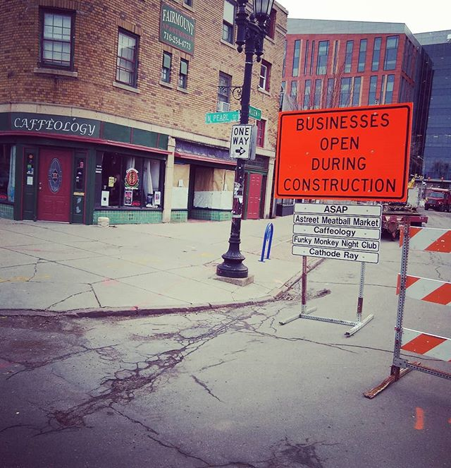 Sidewalks are open for pedestrian! Parking meters are free during construction.