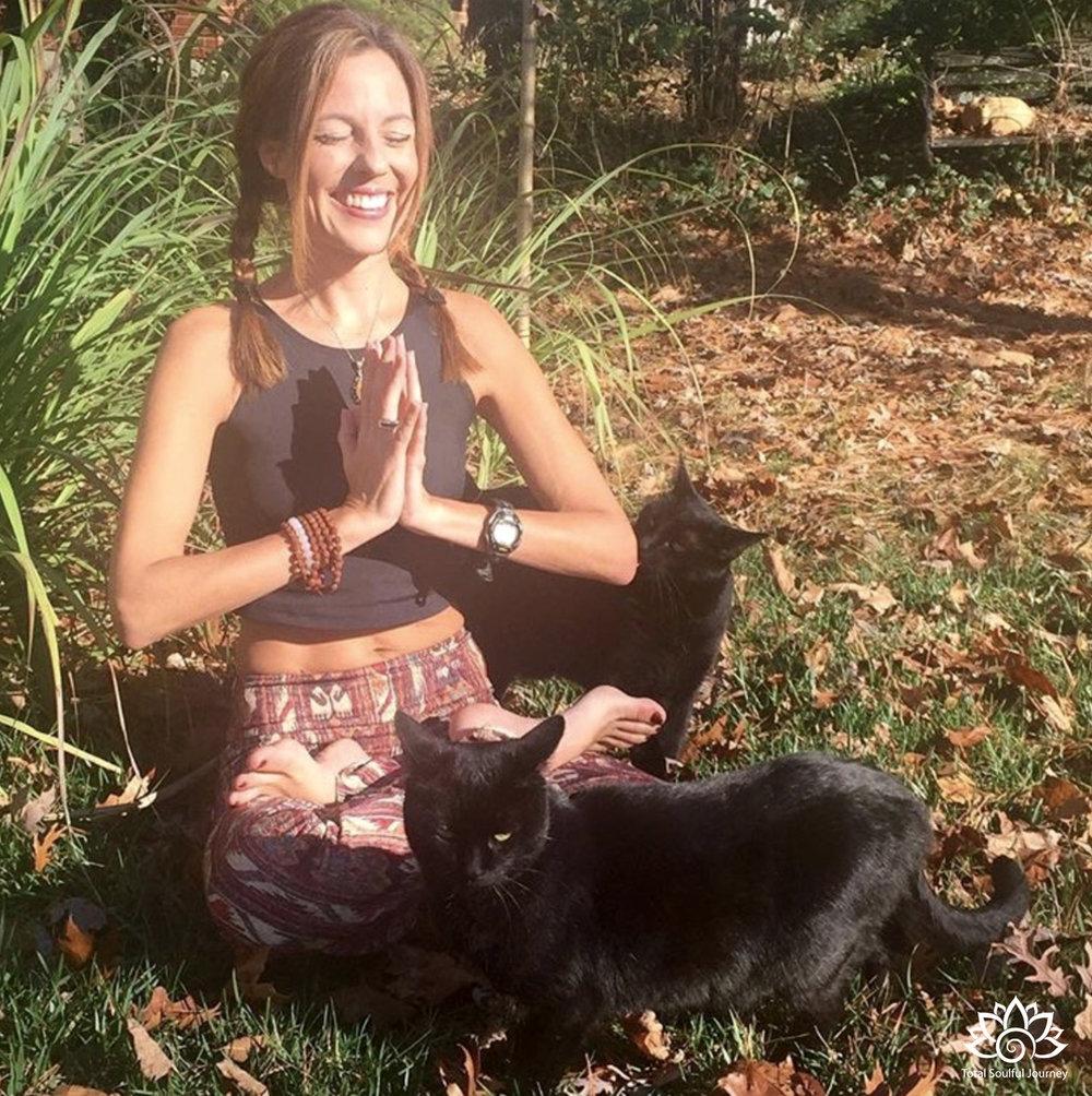Meditating in my garden with my Zen Kitties.