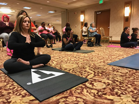 Leading one of my group Meditations for Avon