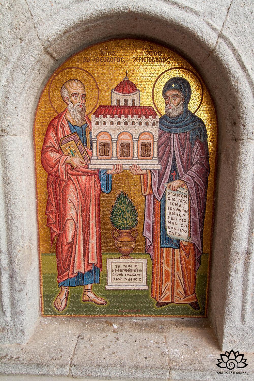 A tile mosaic at the Monastery of Saint John the Theologian. Photo by Paul Garrett.