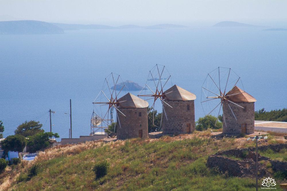 The windmills of Patmos. Photo by Paul Garrett