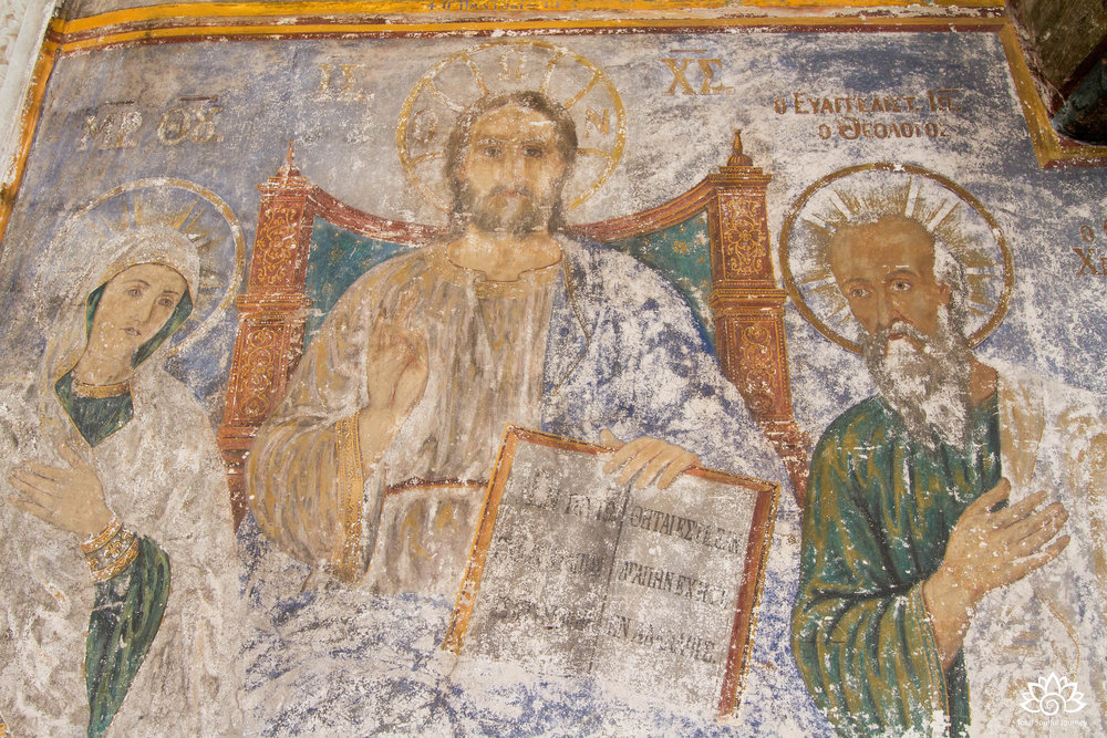 One of the monastery's many frescos. Photo by Paul Garrett