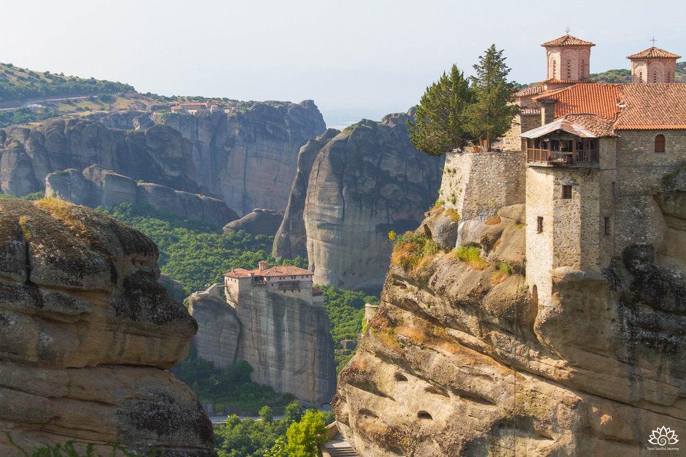 Three of the many monasteries in Meteora, Greece. Photo by Paul Garrett