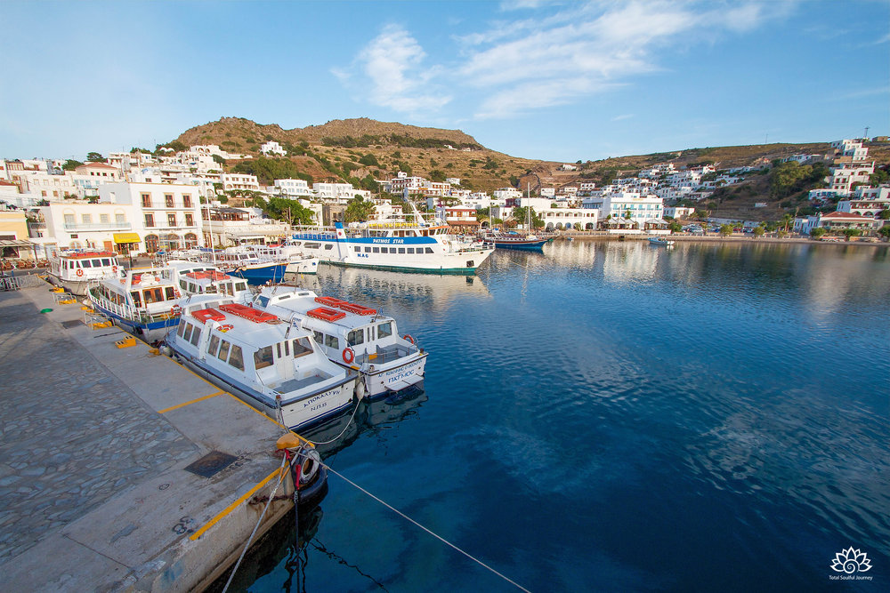 The harbor at the town of Skala on the Greek island of Patmos.Photo by Paul Garrett