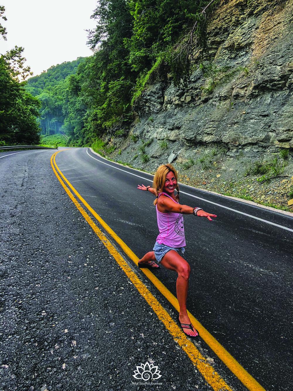 Feeling like a road warrior (warrior two pose) in Kentucky.