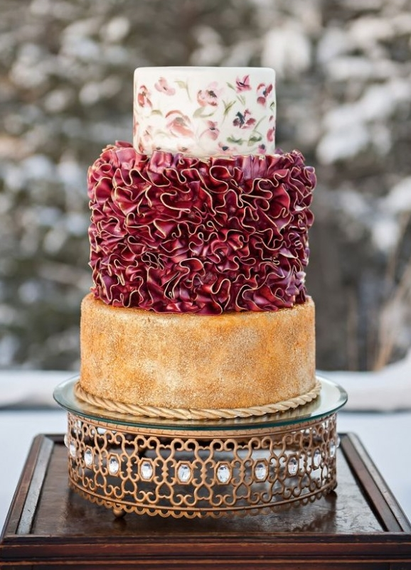 7. Red & Ruffled - Okay so maybe it's not red, but marsala is close enough. The mixed & matched textures & colors throughout this cake are perfect. There are ways to get colorful without going crazy and this takes the cake!