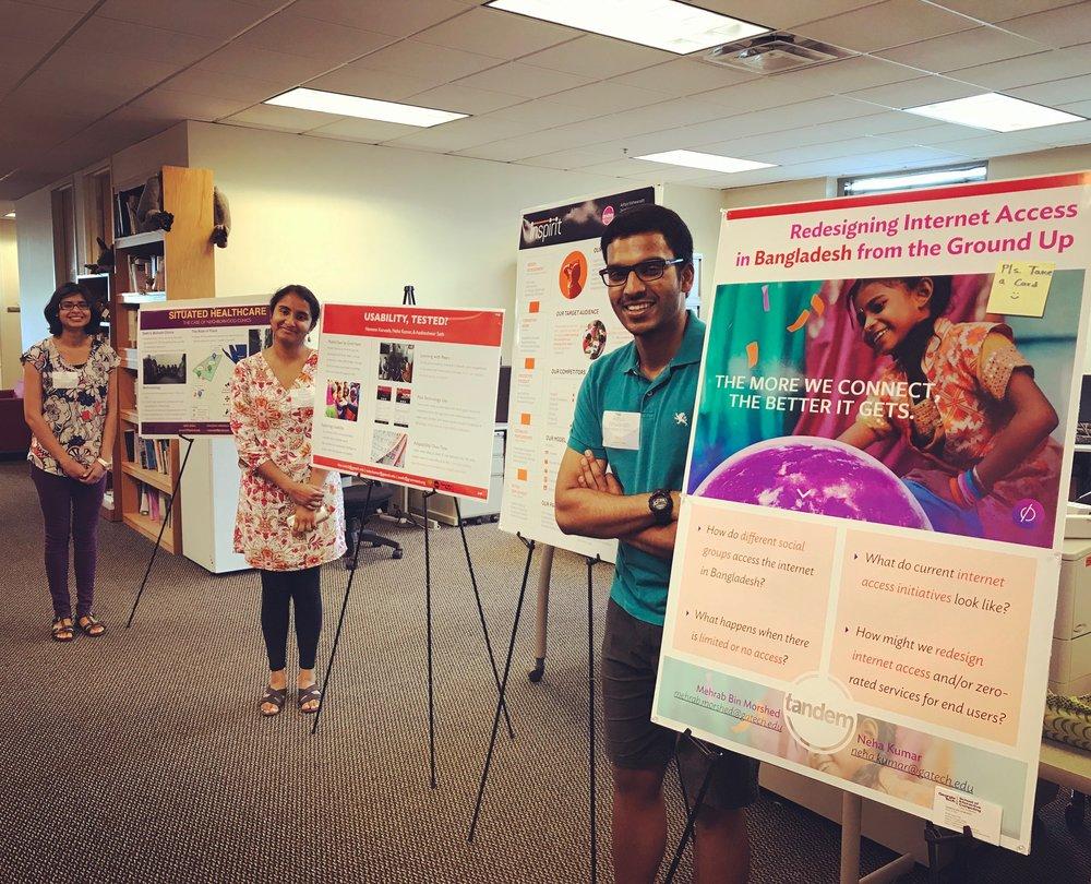 Aditya Vishwanath, Naveena Karusala, and Azra Ismail presenting their research at GVU Interactivity 2017