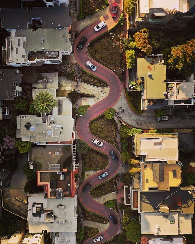 Lombard Street from above! #dji #mavicpro2 #abc7eyewitness #dronestagram