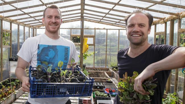 The Ledbury's Brett Graham, right, with head chef Greg Austin at their restaurant's vegetable plot. Picture: Tim Ireland / i-Images