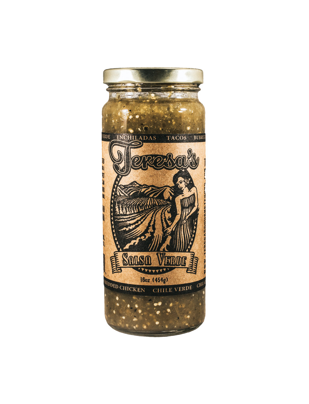Salsa Verde - A delicious blend of roasted tomatillos, charred jalapeños, and a mix of special spices make a perfect salsa to serve straight out of the jar with chips. The verde can also be used to make enchiladas, posole verde, or slow-cooked with chicken or pork.