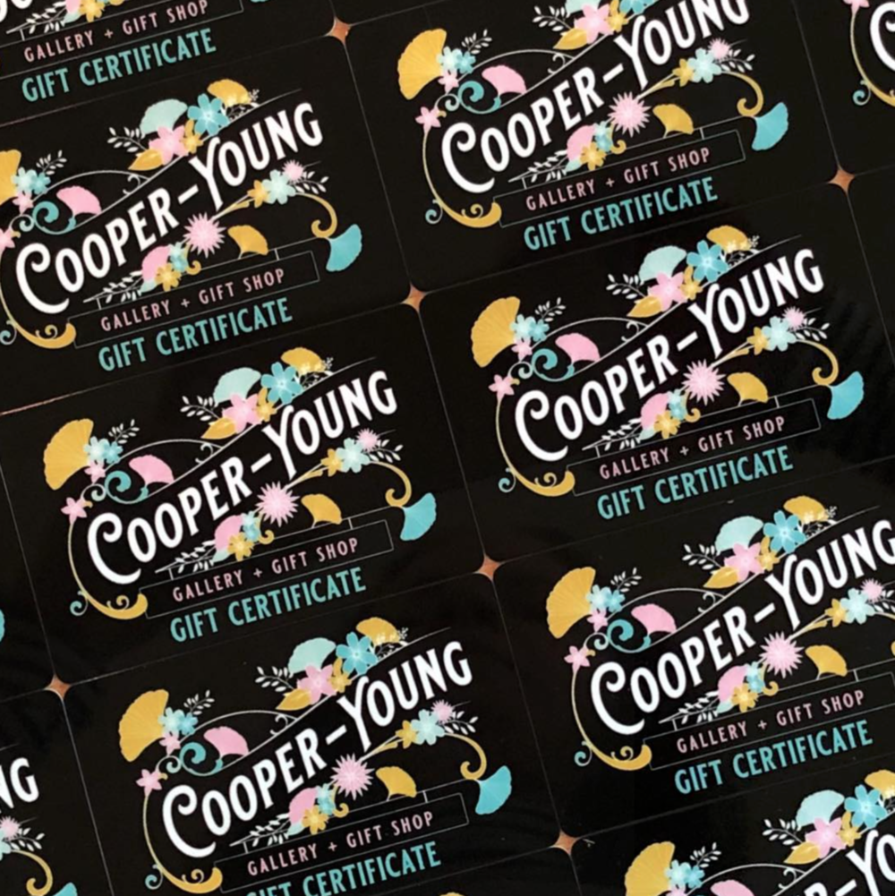 Cooper-Young Gallery + Gift Shop gift cards available in any amount!