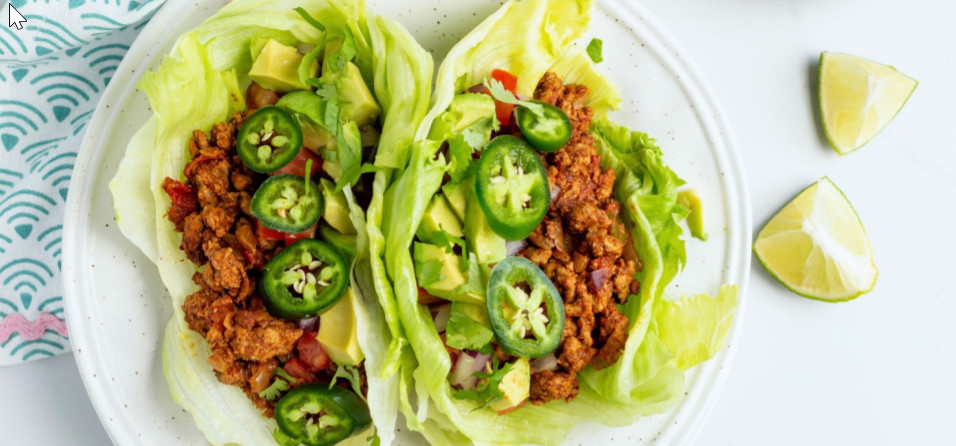 Turkey Taco Lettuce Wraps - If you are following a low carbohydrate diet, this recipe is perfect for you. These carb friendly tacos have only 23 grams of carbohydrates, and 12 grams of fiber per serving.