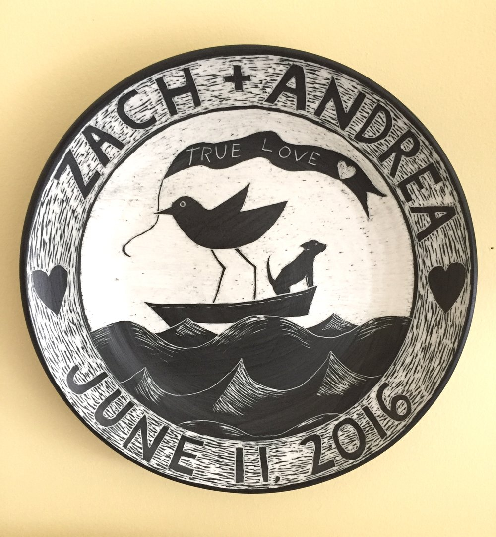 Porcelain plate, sgraffito technique