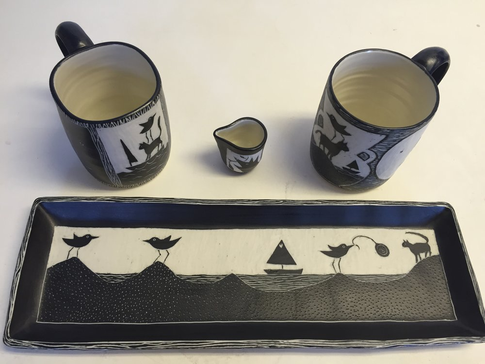 Porcelain wedding set, sgraffito technique