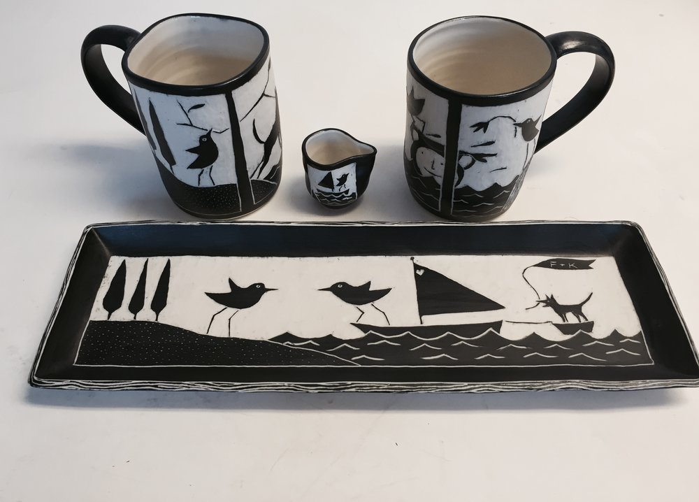 Wedding set, porcelain, sgraffito technique