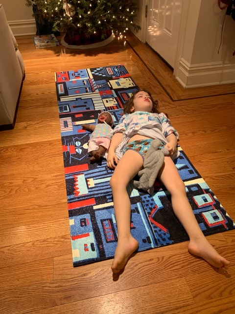 two very different locations of the rug, one at our house, the other in Brooklyn.