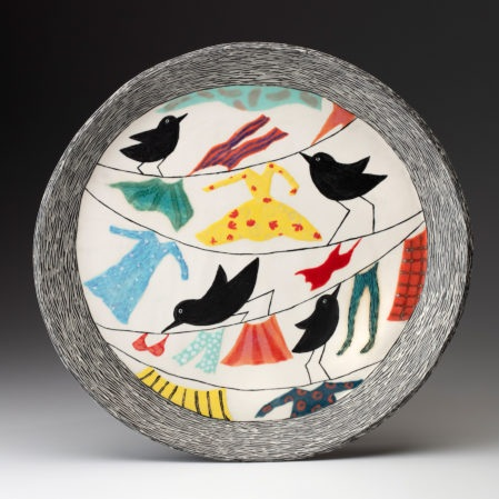 This is one of the pieces that will be included on the exhibit, Fran's Birds with laundry plate.
