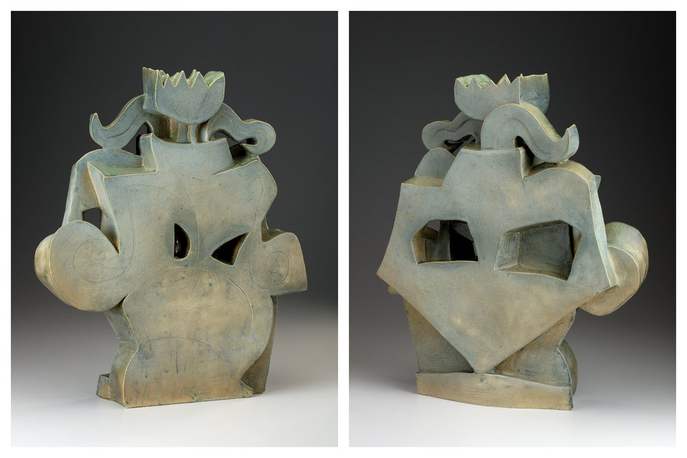 """Vase #3 is 22"""" x 18"""" x5"""", itis fired to cone 6 using a new sculpture body. I sand-blasted this piece to tone down the glaze a little."""