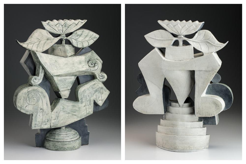 "This piece is@ 23"" x 18"" x 6"", stoneware sculpture clay, sandblasted"