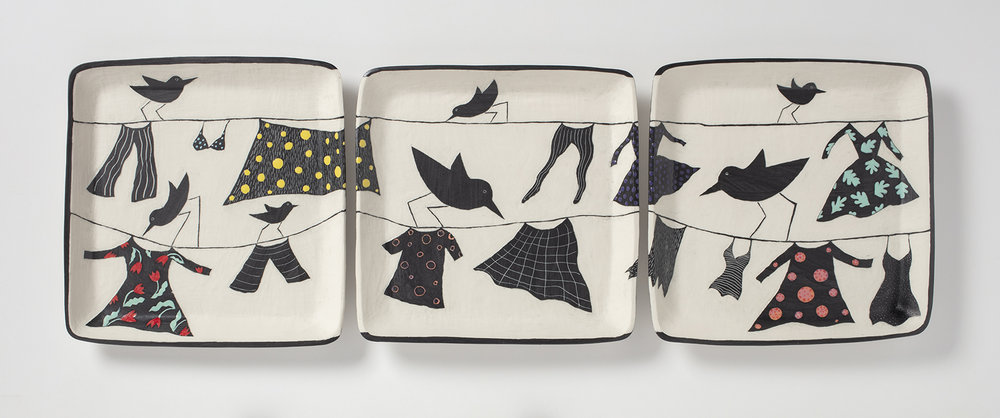 """The piece is @ 36"""" x 11"""" x 1"""". Porcelain, sgraffito, slip, painted glazes"""