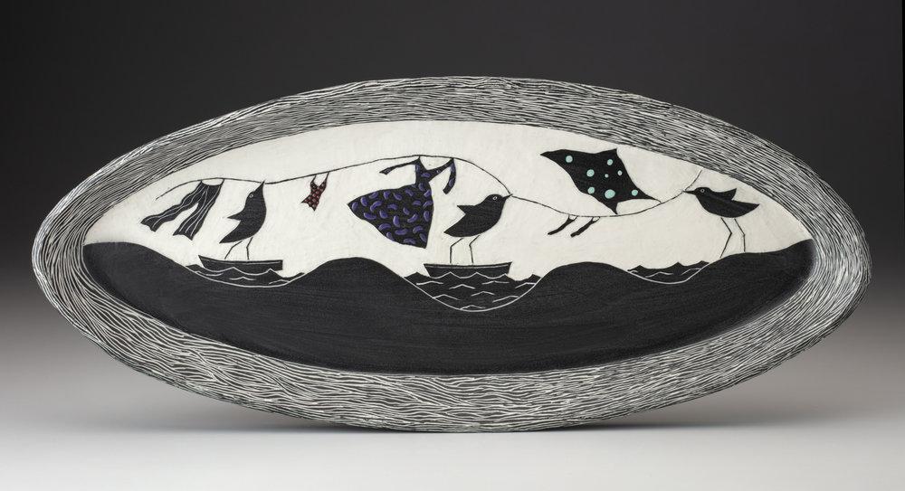 """Landbirds at Sea with Laundry"", porcelain, @ 20"" x 9"" x 1"""