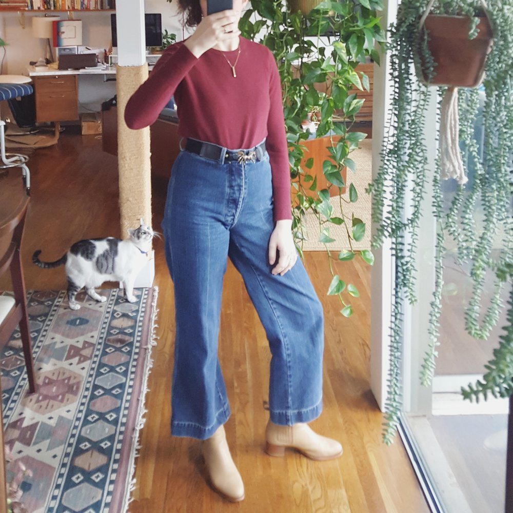 Sunday - December 31, 2017Caron Callahan jeans + Everlane sweater + Veronique Branquinho boots
