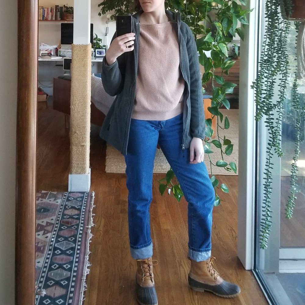 Saturday - January 6, 2018More heavy-lifting errands as I drop off recycling to CHaRM facility, pick up a coffee table from the Habitat ReStore, and clean up my studio. I'm on my hands and knees picking through cobwebs, dead spiders, and dust all afternoon. This is a working outfit. The Wranglers I bought secondhand, having fallen for the mom jeans moment earlier this year. I almost passed on them because while they technically they fit, there is not a lot of wearing ease to speak of. Not great for sitting all day, but they feel durable and sturdy and stay out of the way when you are active and moving about. I can climb ladders and lift concrete things and feel like they will not tear and also that they will actually be more protective of me physically than a thinner pair of pants.