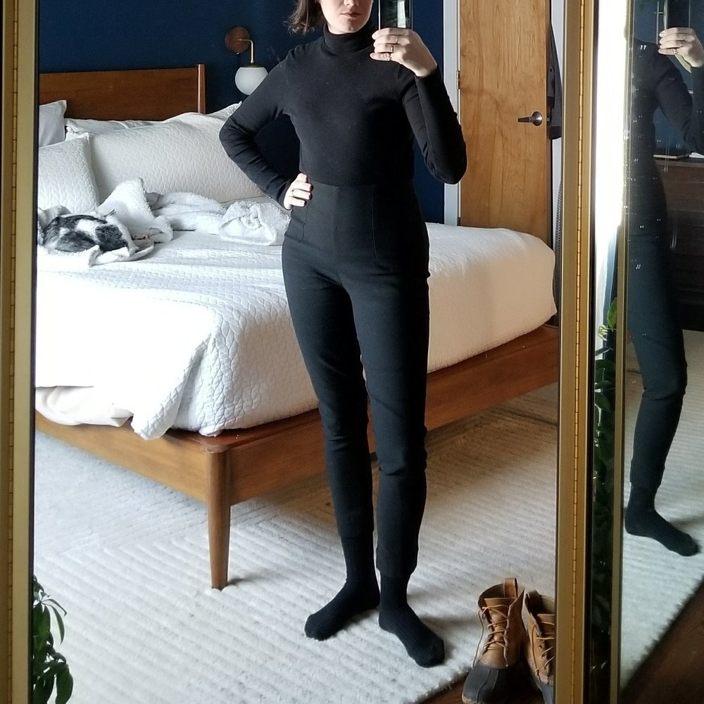Kotn turtleneck +Elizabeth Suzann cecilia pants + socks