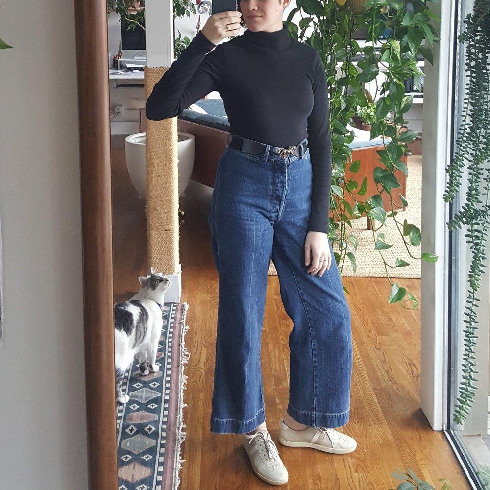 Kotn turtleneck +Caron Callahan stewart jeans + Ecco sneakers