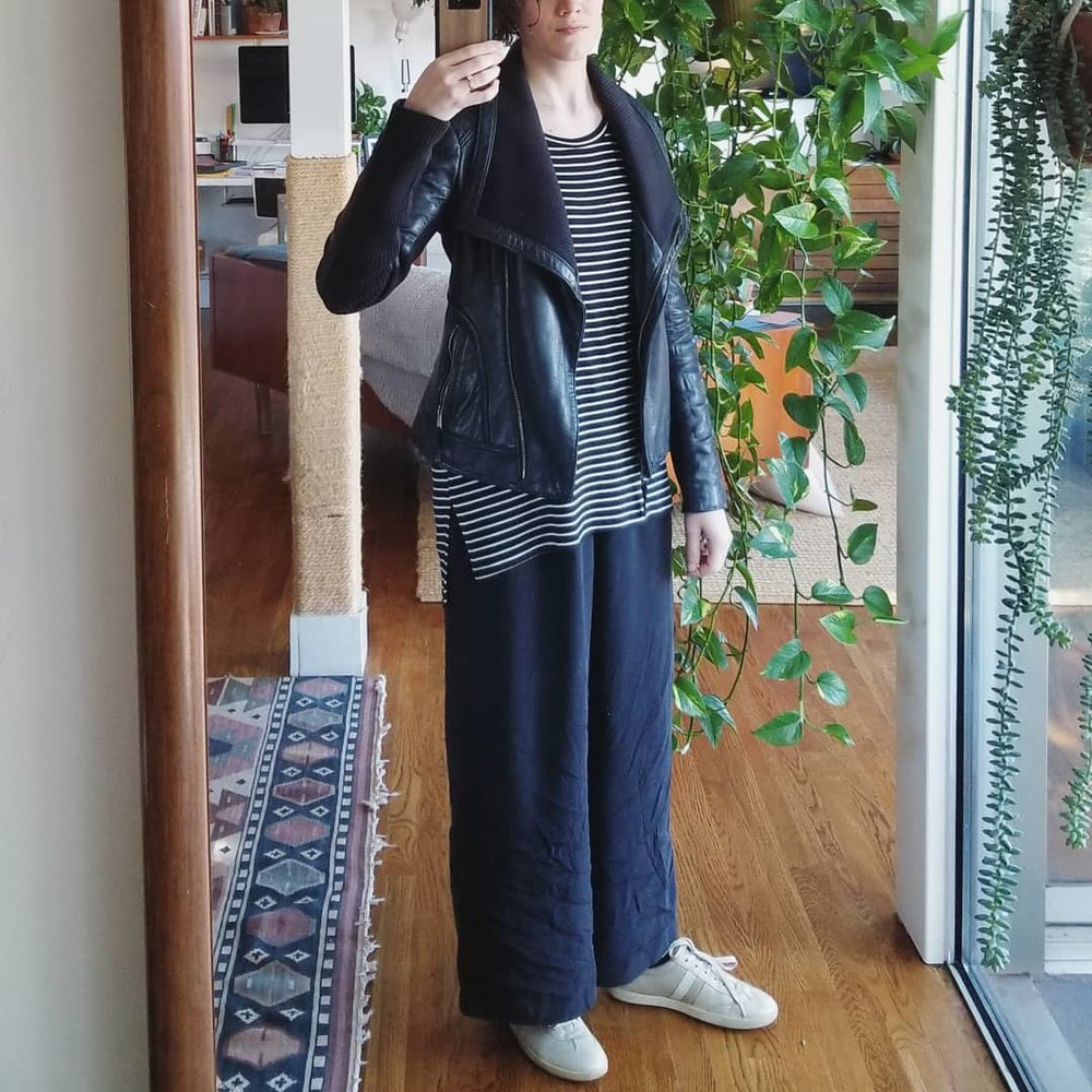 Saturday  - January 20, 2018We had friends over last night, at which time I changed from the Caron Callahan jeans into these Elizabeth Suzann florence pants in silk crepe. After that late night, I feel so cozy and comfortable that I sleep in the silk pants... and continue wearing them in the morning... and when I go run errands. They've retained some wrinkling around the lower legs but I don't care. The weather, after a week of below freezing temps, feels amazing. These pants are like water, smooth and flowing.