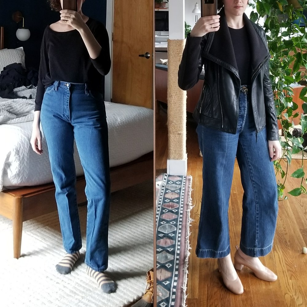 Saturday - February 10, 2018After doing some studio work in the morning (wrangler jeans and an old dolman sleeve top) I ran home to change clothes to go on a marathon friend visiting tour. Subbed in Caron Callahan wide leg stewart jeans and an Amour Vert black top. I originally had on silk ES florence pants but thought it might be too formal for occasion(s) but I wore my Everlane heels with the jeans and I feel that struck the right balance of polished but casual. Whenever I've been working in the studio I always want to change things up in the opposite direction later on. This side by side I think shows how you can change small things about a look to project a different attitude and formality. Still wearing jeans and black top, but it's a completely different look.