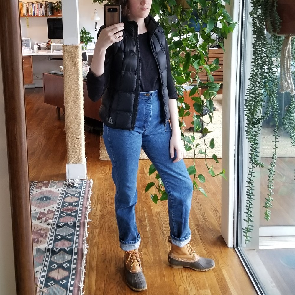 Sunday - February 11, 2018Yep, I'm wearing the same thing I wore yesterday. Black top + work jeans + duck boots for the rain. Layered on a puffy vest to go full mountain-woman. Enough said.
