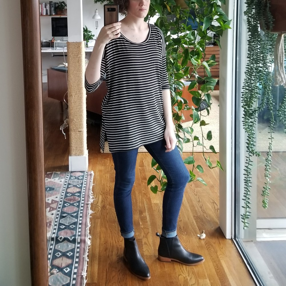 Monday - February 12, 2018I'm starting to rely on this striped top with skinny jeans as my go-to casual but pulled together look. It almost makes me feel guilty when I put it on, like I should put in more effort. But the reality is it's super easy and just looks good. The side vent on the top is a nice detail that keeps it from being just another oversized boxy shirt. And I think the stripes are integral to the design because of how they highlight the drop shoulder. Wouldn't be the same in a solid color.