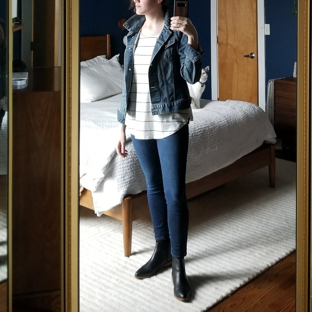 Wednesday - February 21, 2018Something about the perfect pair of skinny jeans makes me feel so good, especially with a blousier top. I love the tight sausage feeling of the legs! It lowers my anxiety. Weird way to put it, I know, but it's true. But not just any pair of tight pants will do. There's something like magic to how a good pair is constricting in all the right places but not in others. This pair is from Madewell. I have two pairs in the same style, one is the tall length that I can cuff. I wish I had more faith in the sustainability and ethics of a company like Madewell because they're really on to something with the way they design the front pockets on these babies — they are sewn into both the sides of the pants so it's like another layer of elastic holding everything in place. I'd easily pay twice as much money as I did for this pair of jeans made ethically.