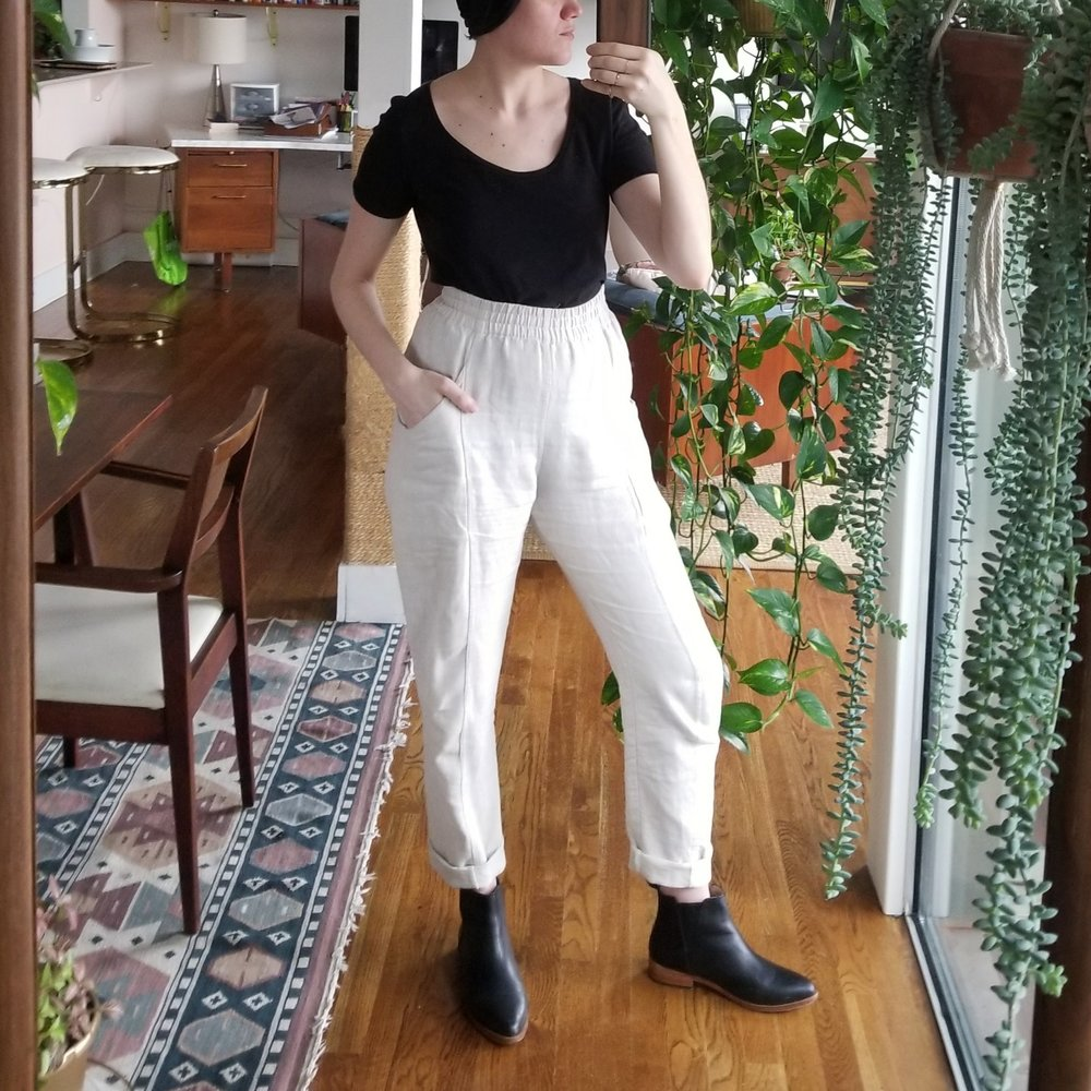 Thursday - February 22, 2018Work from home day! I only put on the shoes for show since I was barefoot for the majority of the day. I do really like them with the black top as a bookend to these flax colored Elizabeth Suzann clyde pants. Dark on top light on bottom is not a look I ever went for really, but it really pops in a nice way!