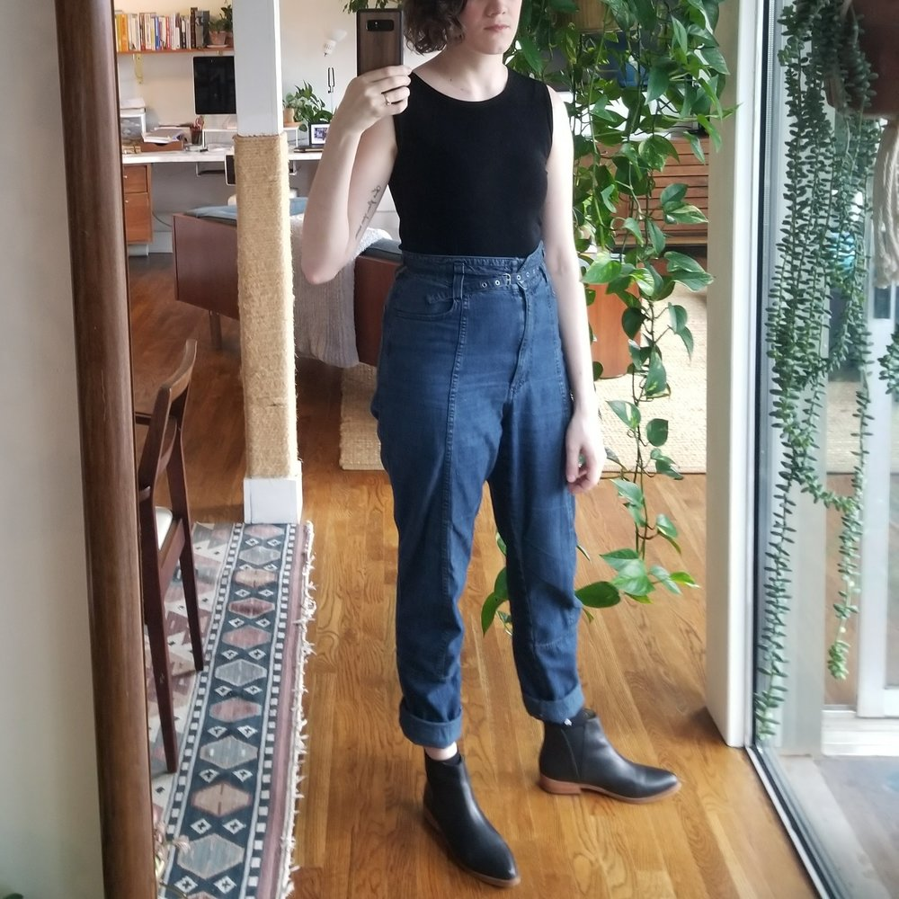 Sunday  - February 25, 2018Had a last minute change of plan and ended up road tripping to Augusta and back today. Specifically chose these Rachel Comey pants to be comfortable on the four-hour round trip. The lightweight denim and generous rise are perfect for being cooped up in a car, haha.I went with two friends to pick up a bunch of furniture from Final Cut, the warehouse where all the old furniture floor models and reject clothes from Anthropologie and Urban Outfitters end up. What a place. A lady accosted me in a back aisle at one point and said,
