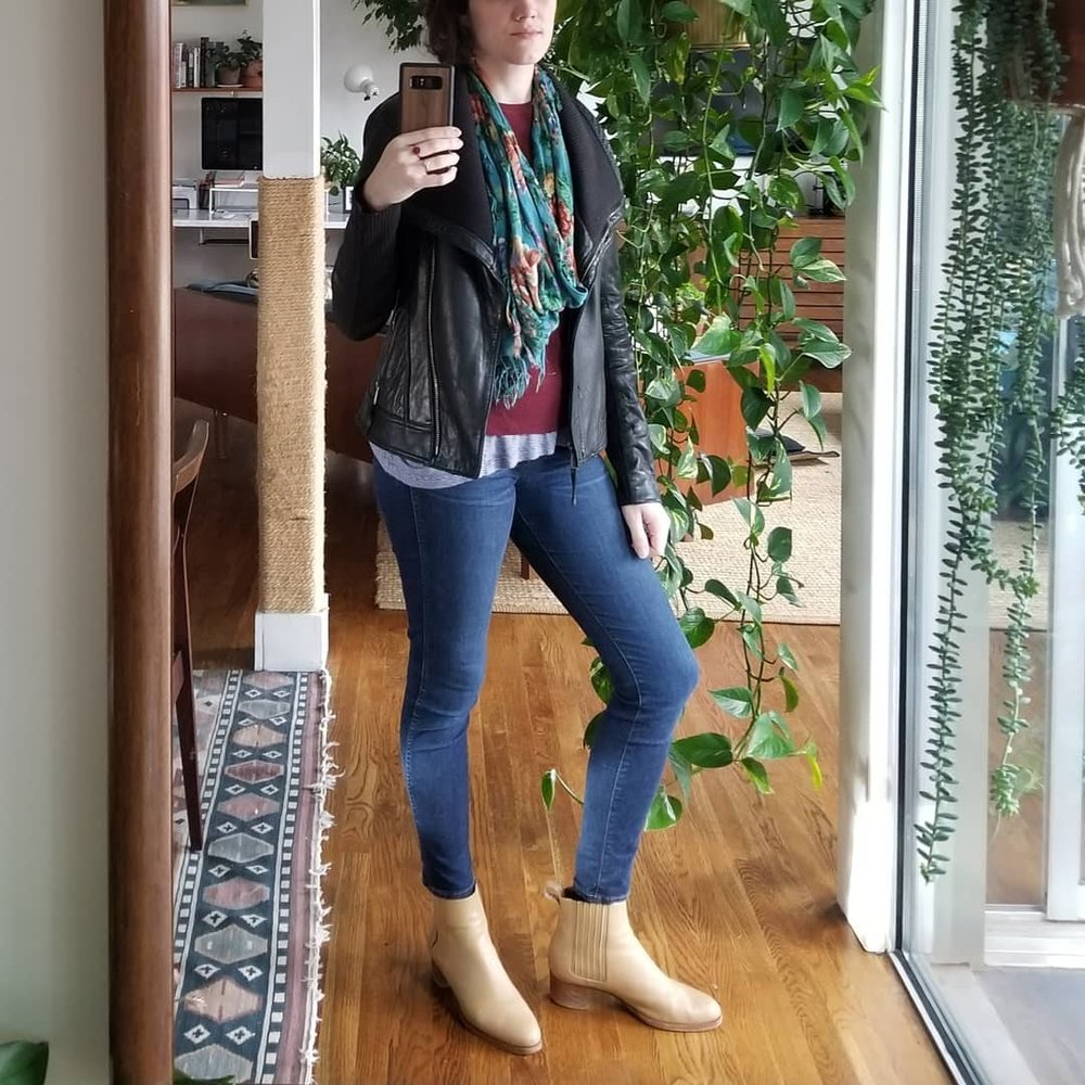Monday - March 5, 2018Here's what my outerwear looks like when it's in the 50s and 60s out. My leather jacket is a my standard go-to. Here it's layered over an Everlane sweater layered over a stripey tank that, full-disclosure, I normally wear as a PJ top in summer. But  it gives an interesting edge sticking out from the bottom hem of the sweater. This is basically an outfit repeat that I've jazzed up just a little bit.