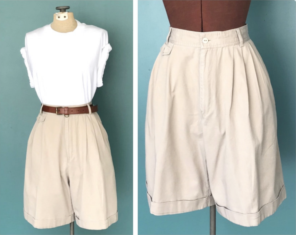 Cotton Khaki Shorts $39 - A neutral option that would go well with black shirts as well as... well probably anything. I love the double pleats and drape on these as well as the mega-high waist. They have a bit of a utilitarian, safari vibe. Not sure about the flap pocket on the left though. Overall I like these a lot!