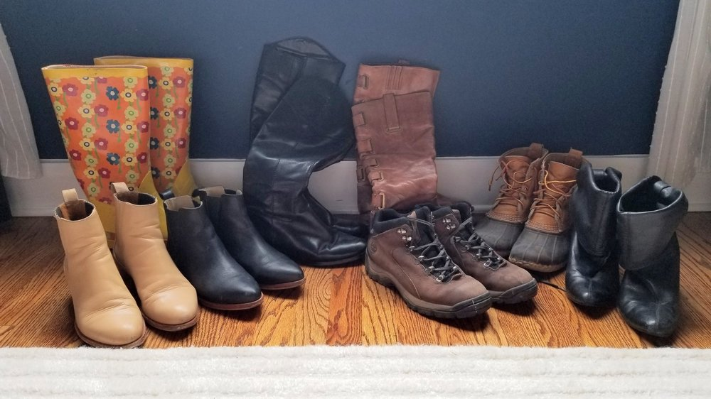 L to R: Veronique Branquinho block heel, rubber rain boots, Nisolo chelsea boots, black riding bootss, brown riding boots, hiking boots, duck boots, dress boots. Not pictured, white pointy ankle boot in the archive.