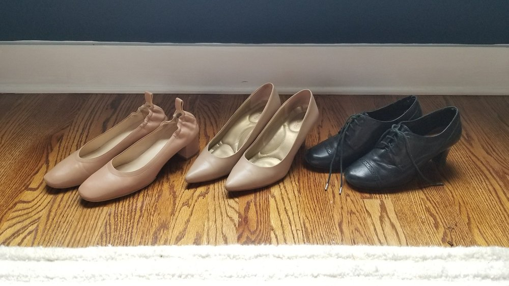 L to R: Everlane heels, pointy stiletto pumps, Etienne Aigner oxford heels.