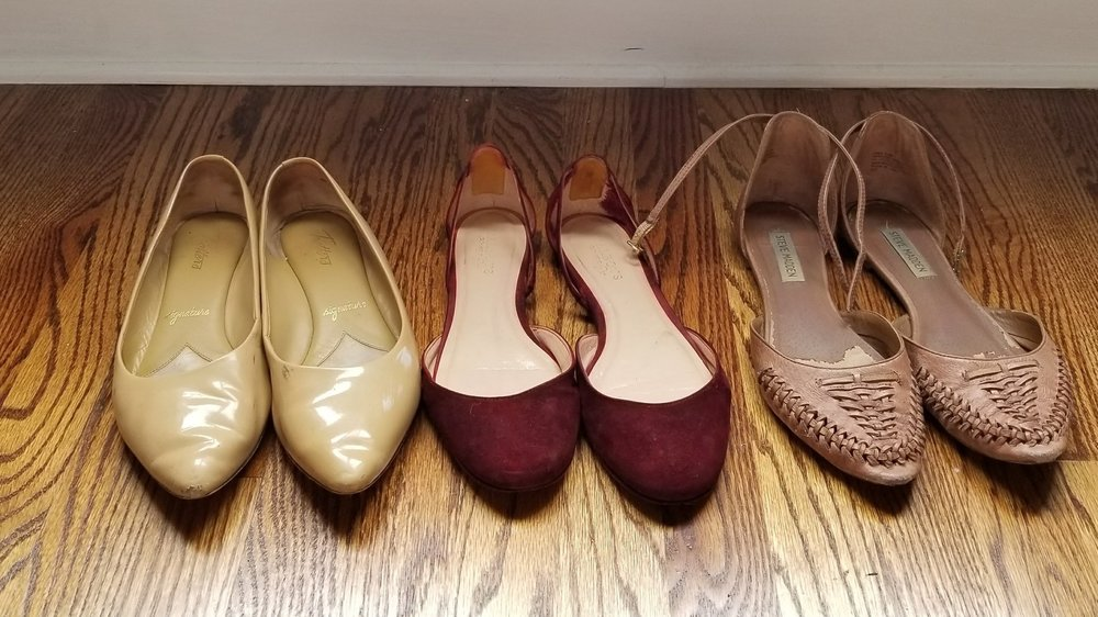 L to R: patent flats, burgundy 2-piece flats, ancient woven brown 2-piece ankle strap flats.