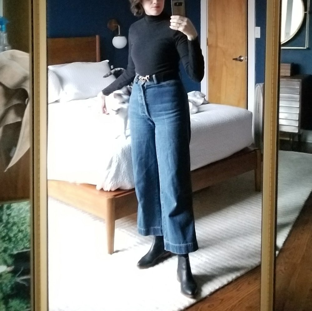 Tuesday  - March 27, 2018Classic Kotn turtleneck (love this top so much) with the Caron Callahan wide legs and Nisolo boots. Just an easy, go-to look for when I'm tired of skinny jeans.