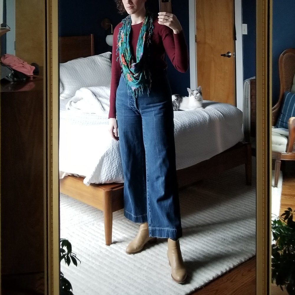Monday - April 9, 2018Variation on an outfit I've worn before. I love pairing my mom's floral scarf with this burgundy sweater and camel boots. The scarf has little dabs of similar reds and pinks that look lovely with this color combo.