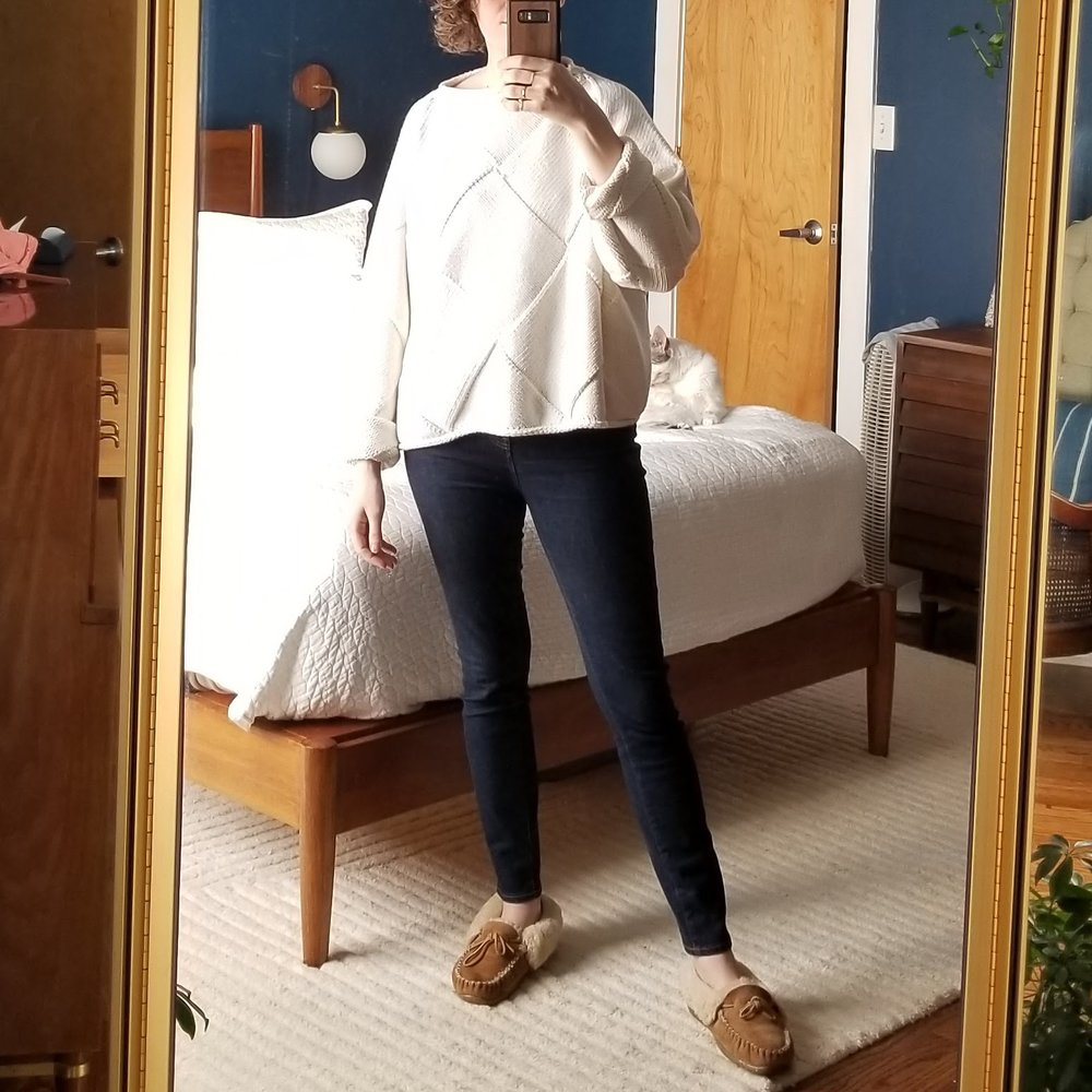 Thursday - April 12, 2018This sweater and jeans combo has quickly become my work from home uniform. Perfect for the spring chill that is hanging on. And on. And oooon.